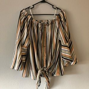 Plus Size Stripped Off the Shoulder Tie Blouse